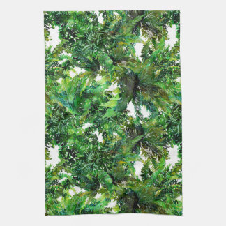 Watercolor green fern forest fall pattern kitchen towel
