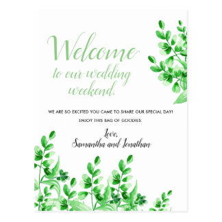 Watercolor Green Foliage | Welcome to our Wedding Postcard