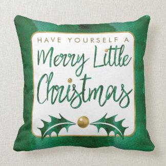 Watercolor Green & Gold Merry Little Christmas Throw Pillow