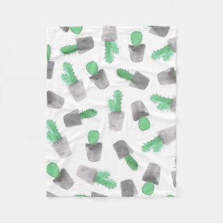 Watercolor green gray modern cactus pattern fleece blanket