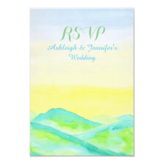 "Watercolor Green Hills Blue Sky Hand Drawn RSVP 3.5"" X 5"" Invitation Card"