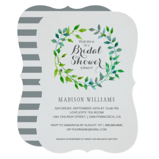 Watercolor Green Leaf Wreath | Bridal Shower Card