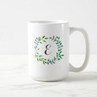 Watercolor Green Leaf Wreath | Monogram Coffee Mug