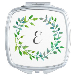Watercolor Green Leaf Wreath | Monogram Makeup Mirror