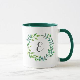 Watercolor Green Leaf Wreath | Monogram Mug