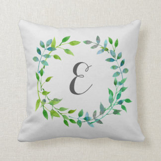Watercolor Green Leaf Wreath | Monogram Throw Pillow