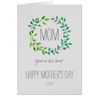 Watercolor Green Leaf Wreath | Mother's Day Card