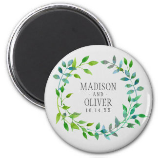 Watercolor Green Leaf Wreath | Wedding 2 Inch Round Magnet