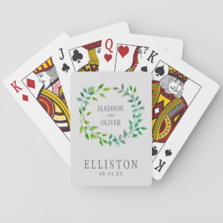 Watercolor Green Leaf Wreath   Wedding Playing Cards