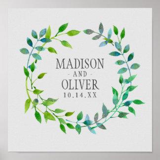 Watercolor Green Leaf Wreath | Wedding Poster