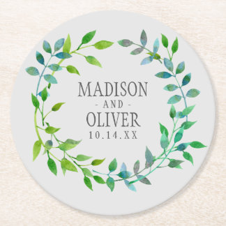 Watercolor Green Leaf Wreath | Wedding Round Paper Coaster