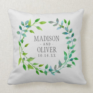Watercolor Green Leaf Wreath | Wedding Throw Pillow