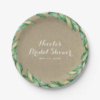 Watercolor Green Leaves Rustic Kraft Wedding Paper Plate