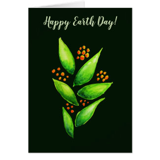 Watercolor Green Plant Orange Berries Earth Day Card