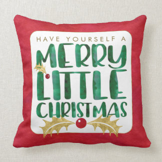 Watercolor Green, Red, Gold Merry Little Christmas Throw Pillow