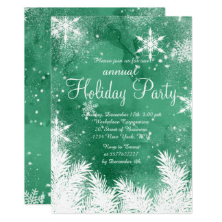 Watercolor green snow winter corporate holiday card