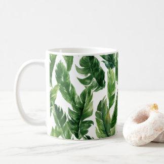 Watercolor Green Tropical Leaves Pattern Coffee Mug