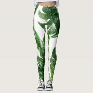 Watercolor Green Tropical Leaves Pattern Leggings