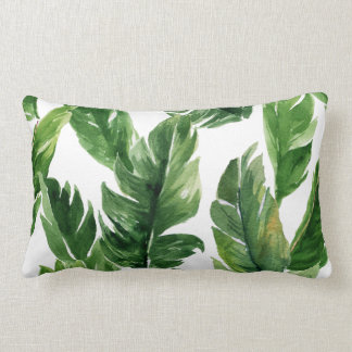 Watercolor Green Tropical Leaves Pattern Lumbar Pillow