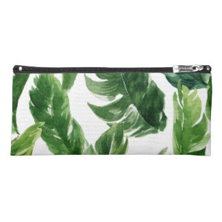 Watercolor Green Tropical Leaves Pattern Pencil Case