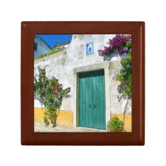 Watercolor green wooden door gift box