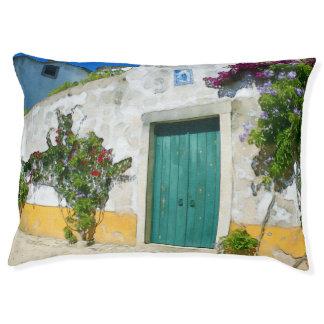 Watercolor green wooden door large dog bed
