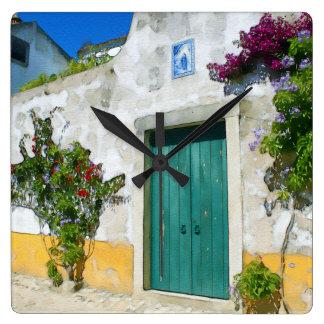Watercolor green wooden door wall clock