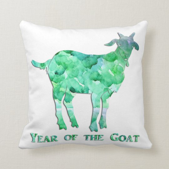 Watercolor Green Year of the Goat Throw Pillow