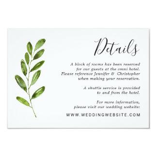 Watercolor Greenery Leaves Wedding Details Card