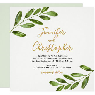 Watercolor Greenery Square Wedding Invitations