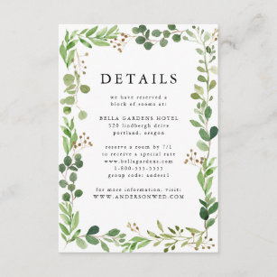 Watercolor Greenery   Wedding Details Enclosure Card