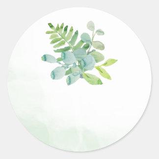 Watercolor Greenery Wedding Favor Stickers