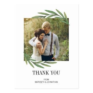 Watercolor Greenery Wedding Thank You Postcard