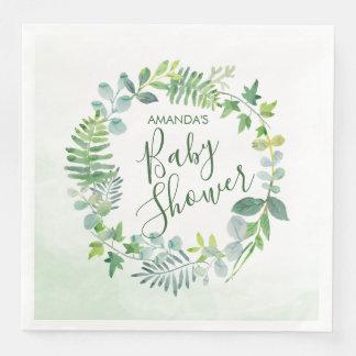 Watercolor Greenery Wreath Baby Shower Paper Dinner Napkin