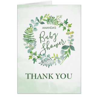 Watercolor Greenery Wreath Baby Shower Thank You Card