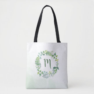 Watercolor Greenery Wreath Monogram Tote Bag