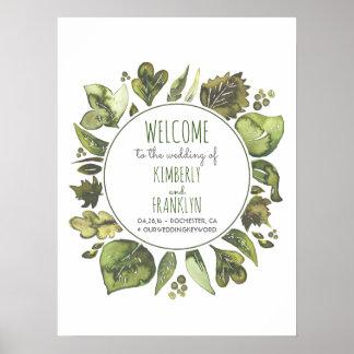 Watercolor Greenery Wreath Wedding Welcome Sign