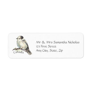 Watercolor Grey,Gray Jay Canada National Bird Return Address Label