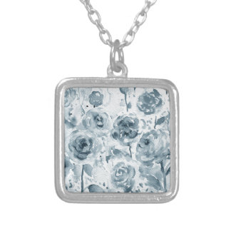 Watercolor grey rose pattern silver plated necklace