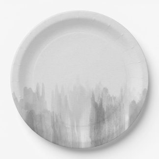 Watercolor greyscale grey modern paper plates 9 inch paper plate