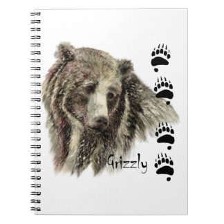 Watercolor Grizzly Bear Wildlife Nature Art Spiral Notebook