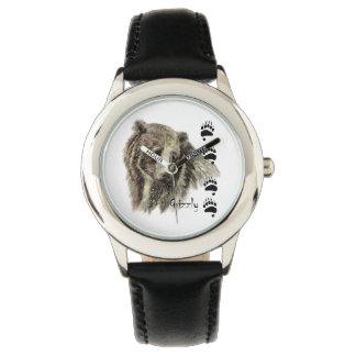 Watercolor Grizzly Bear Wildlife Nature Art Watch