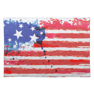 watercolor grunge American Flag Placemat