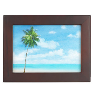 Watercolor grunge image of beach keepsake box
