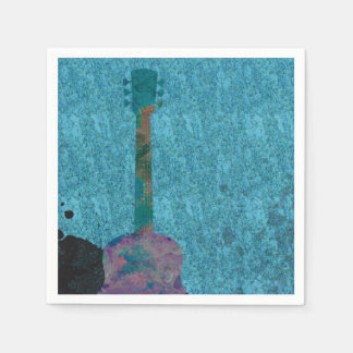 Watercolor Guitar Blue Musical Birthday Party Paper Napkin