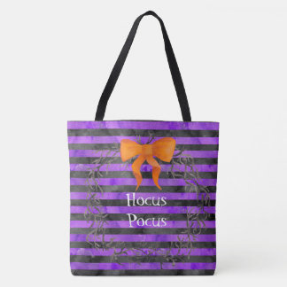 Watercolor Halloween Stripes Wreath Personalized Tote Bag