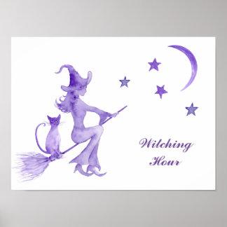 Watercolor Halloween Witch Art Print