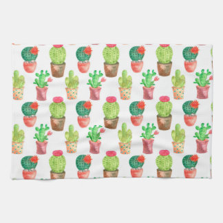 Watercolor Hand Drawn Cactus Pattern Illustration Kitchen Towel