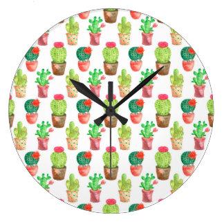 Watercolor Hand Drawn Cactus Pattern Illustration Large Clock