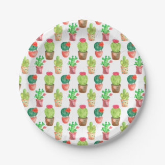 Watercolor Hand Drawn Cactus Pattern Illustration Paper Plate